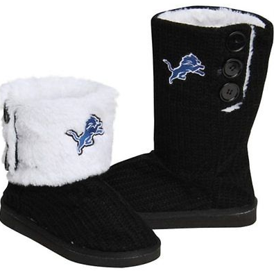 Detroit Lions Boots - Ladies High End Knit Button Boot Slippers
