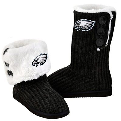 Philadelphia Eagles Boots - Ladies High End Knit Button Boot Slippers