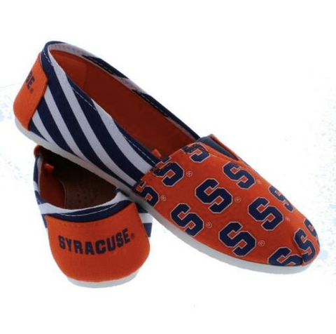 Syracuse Orange Slippers - Ladies Logo Stripe Slip Ons