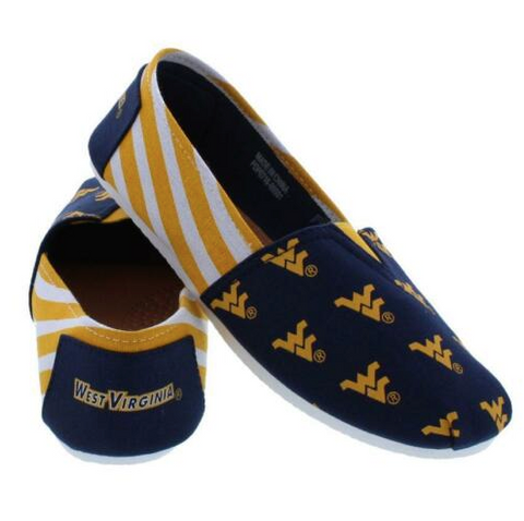 West Virginia Mountaineers Ladies Logo Stripe Slip Ons