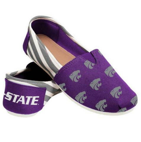 Kansas State Wildcats Ladies Logo Stripe Slip Ons