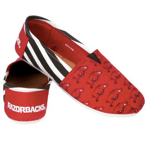 Arkansas Razorbacks Slippers - Ladies Logo Stripe Slip Ons