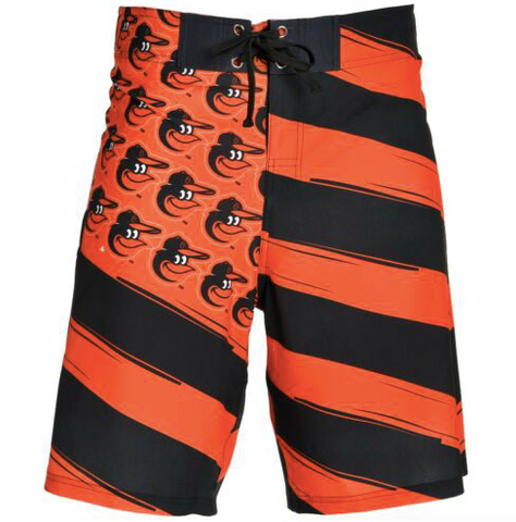 Baltimore Orioles Shorts - Mens Flag Stripe Swim and Board Shorts