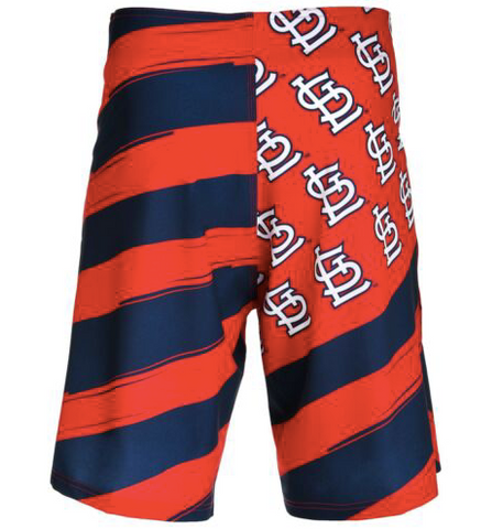 size 40 31dee d5958 St Louis Cardinals Shorts - Mens Flag Stripe Swim and Board Shorts