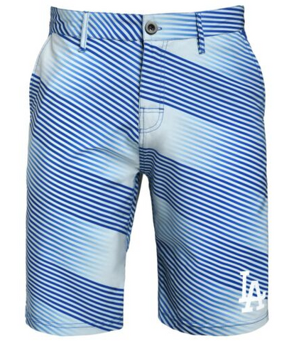Los Angeles Dodgers Shorts - Mens Diagonal Stripe Walking Shorts