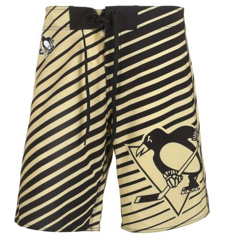 Pittsburgh Penguins Shorts - Mens Logo Poly Stripe Board Shorts