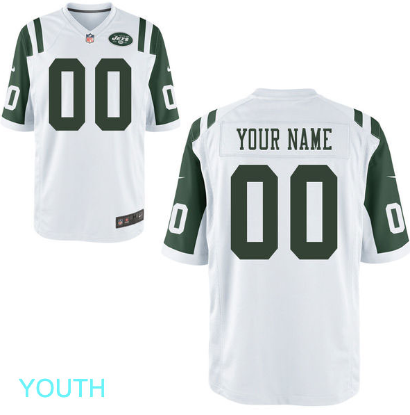 various colors 40cfb cd6e3 New York Jets Jersey - Youth White Custom Game Jersey
