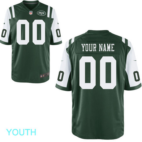 huge discount 683c9 b2431 New York Jets Jersey - Youth Green Custom Game Jersey