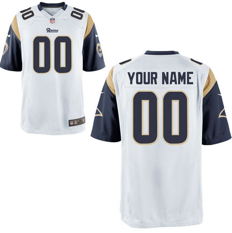 Los Angeles Rams Jersey - Men's White Custom Game Jersey
