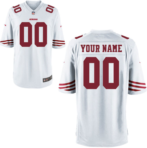 new concept f2510 f3db5 San Francisco 49ers Jersey - Men's White Custom Game Jersey