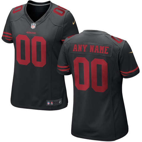 San Francisco 49ers Jersey - Women's Black Custom Game Jersey