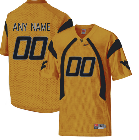 West Virginia Mountaineers Jersey - Custom Limited Gold Jersey - Any Name and Number
