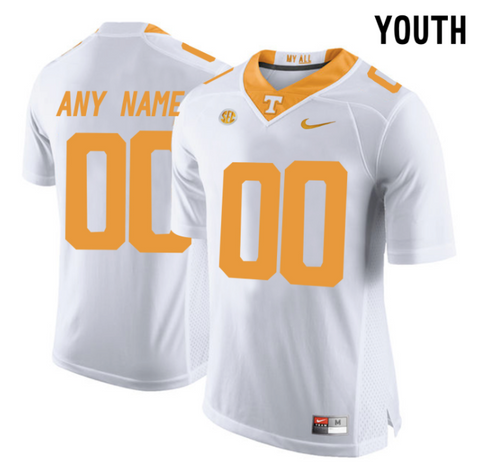 Tennessee Volunteers Jersey - Custom YOUTH White Jersey - Any Name and Number