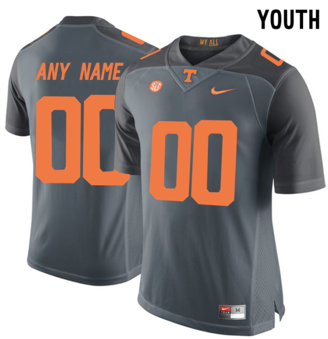 new concept 9092e 543cf Tennessee Volunteers Jersey - Custom YOUTH Gray Jersey - Any Name and Number