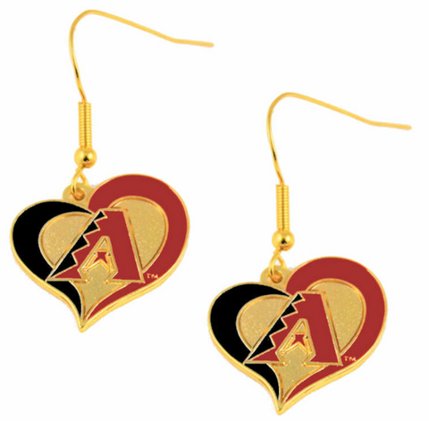 Arizona Diamondbacks Earrings - Swirl Heart Dangle Earrings