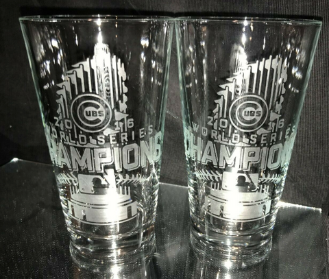 Chicago Cubs Glass - 2016 World Series Etched Pint Glasses