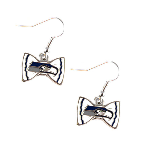 Seattle Seahawks Earrings - Bow-Tie Dangle Earrings
