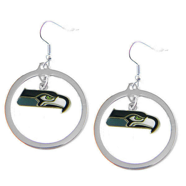 Seattle Seahawks Earrings - Hoop Logo Dangle Earrings