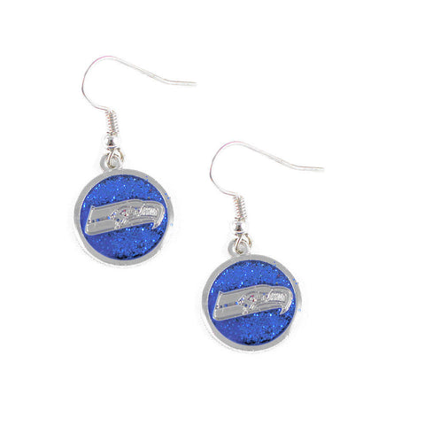 Seattle Seahawks Earrings - Glitter Logo Dangle Earrings