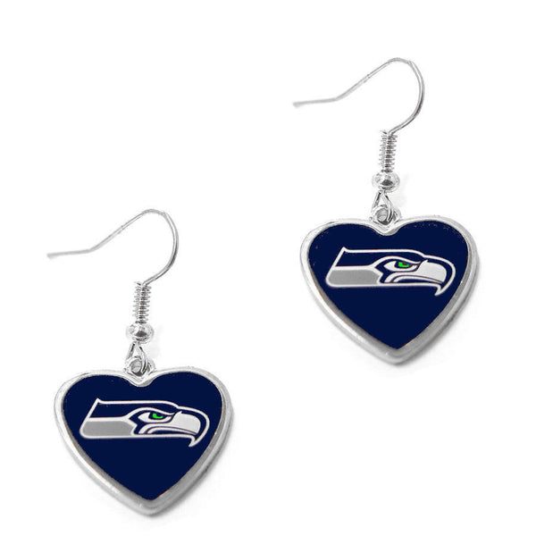 Seattle Seahawks Earrings - Logo Heart Dangle Earrings