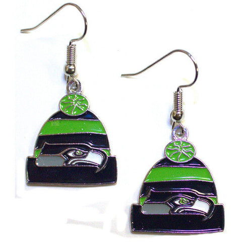 Seattle Seahawks Earrings - Knit Hat Dangle Earrings