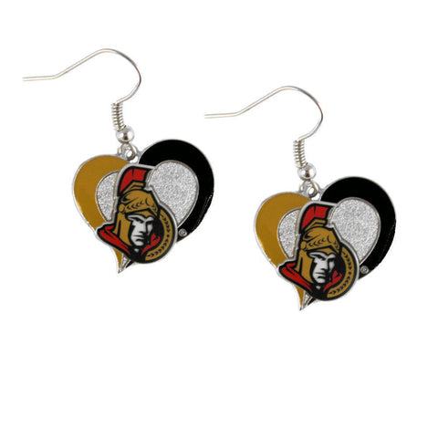 Ottawa Senators Swirl Heart Dangle Earrings