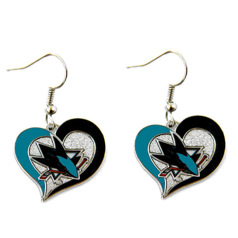 San Jose Sharks Swirl Heart Dangle Earrings