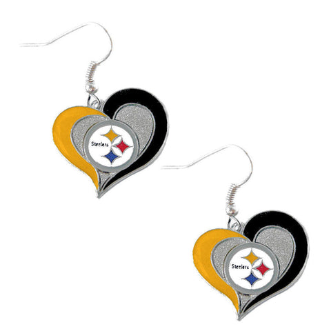 Pittsburgh Steelers Earrings - Swirl Heart Dangle Earrings