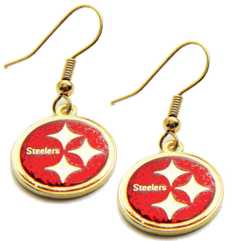 Pittsburgh Steelers Earrings - Glitter Logo Dangle Earrings