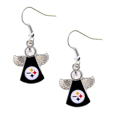 Pittsburgh Steelers Earrings - Crystal Angel Dangle Earrings