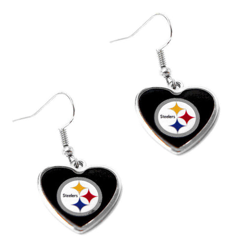 Pittsburgh Steelers Earrings - Logo Heart Dangle Earrings