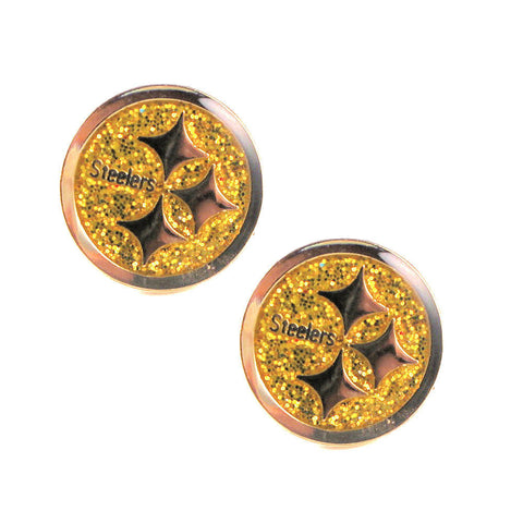 Pittsburgh Steelers Earrings - Glitter Logo Stud Earrings