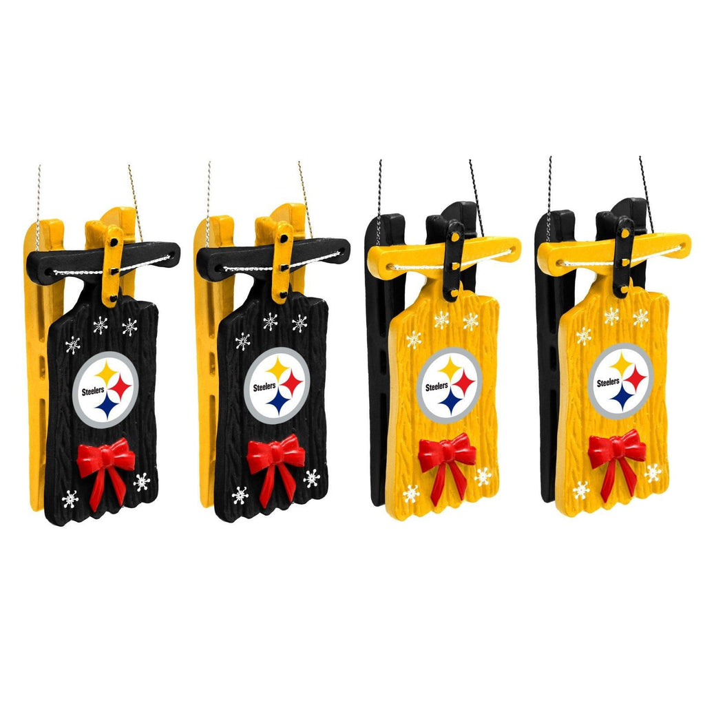 Pittsburgh Steelers Christmas Ornaments Set Of 4 Sleigh Hanging