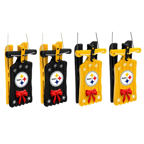 Pittsburgh Steelers Christmas Ornaments - Set Of 4 -Sleigh Hanging