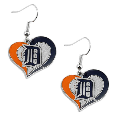 Detroit Tigers Earrings - Swirl Heart Dangle Earrings