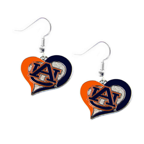 Auburn Tigers Swirl Heart Dangle Earrings