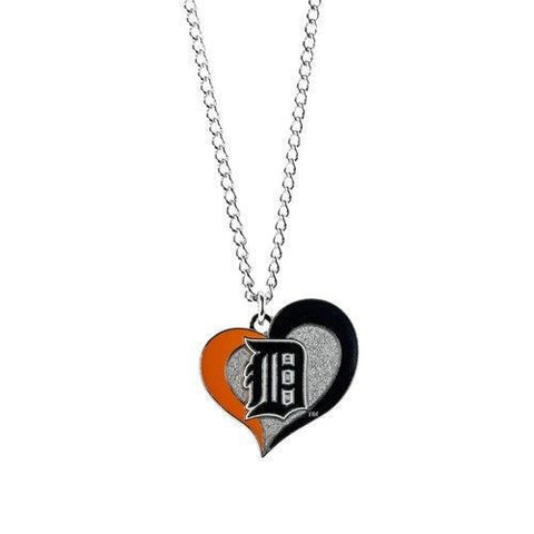 Detroit Tigers Necklace - Swirl Heart Logo Necklace