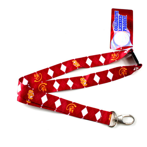 USC Trojans Lanyard - Argyle Lanyard Clip Keychain Key Ring Badge Ticket Holder