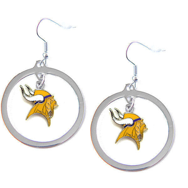 Minnesota Vikings Earrings - Hoop Logo Dangle Earrings