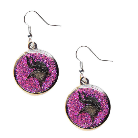 Minnesota Vikings Earrings - Glitter Logo Dangle Earrings