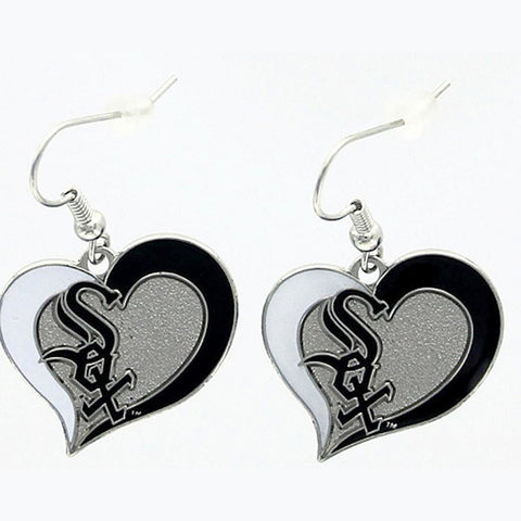 Chicago White Sox Earrings - Swirl Heart Dangle Earrings