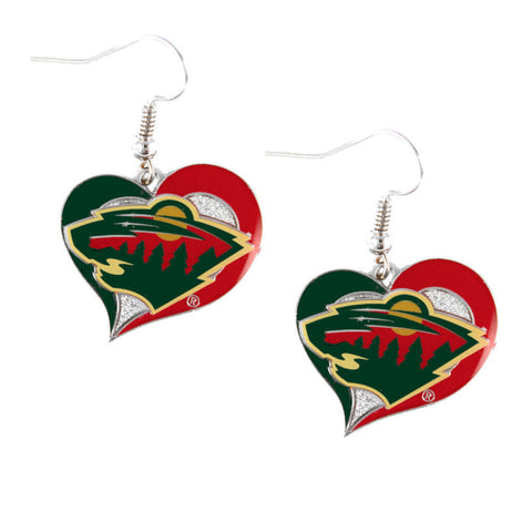 Minnesota Wild Swirl Heart Dangle Earrings