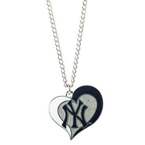 New York Yankees Necklace - Swirl Heart Logo Necklace