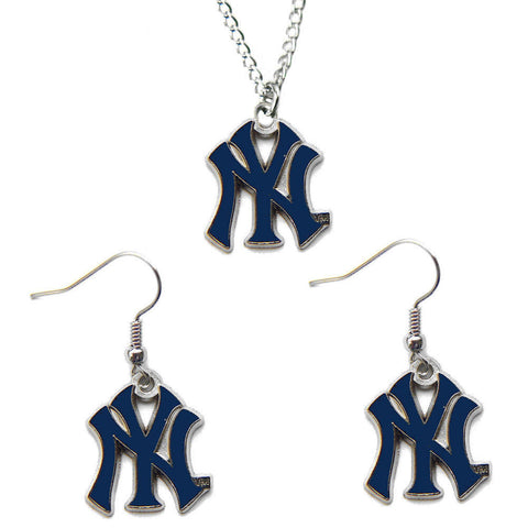 New York Yankees Necklace - Logo Charm Necklace & Earrings Set