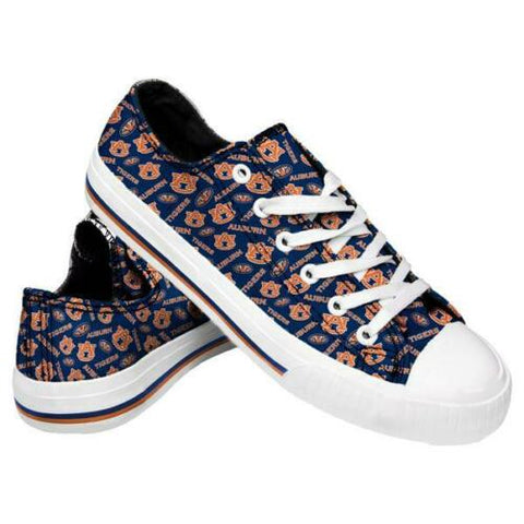 Auburn Tigers Shoes - Womens Low Top Repeat Print Canvas