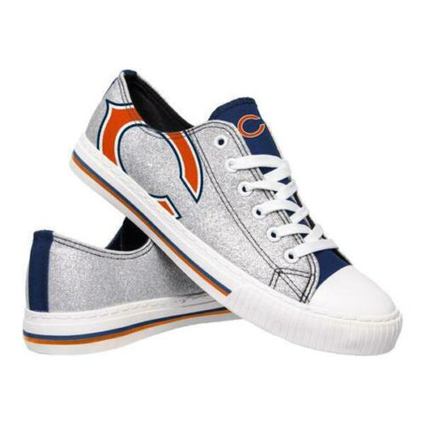 Chicago Bears Shoes - Womens Glitter Low Top Canvas Shoe