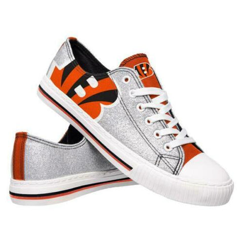 Cincinnati Bengals Shoes - Womens Glitter Low Top Canvas Shoe
