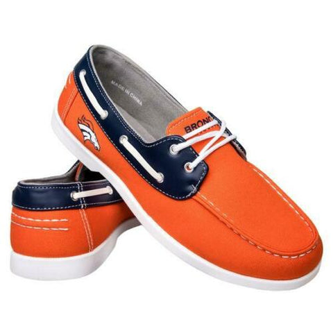 Denver Broncos Shoes - Men's Side Logo Canvas Deck Shoes
