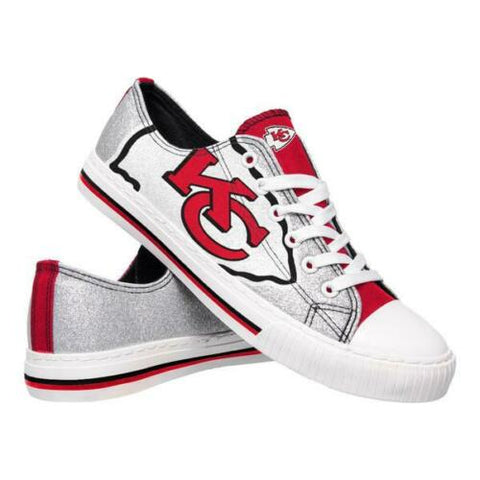 Kansas City Chiefs Shoes - Womens Glitter Low Top Canvas Shoe