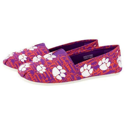 Clemson Tigers Shoes - Womens Script Print Canvas Shoes